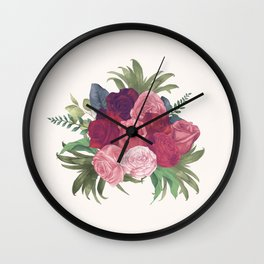 Pink Flowers Painting Wall Clock