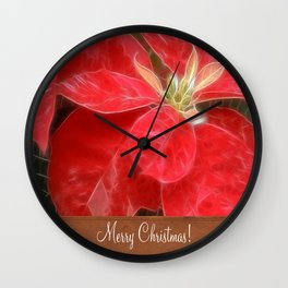 Mottled Red Poinsettia 1 Ephemeral Merry Christmas S1F1 Wall Clock