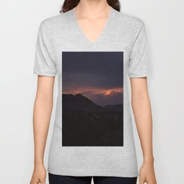 Vibrant Sunset over the Mountains in Terlingua, Big Bend - Landscape Photography Unisex V-Neck