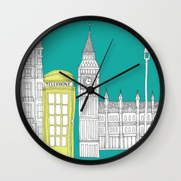 London - City prints // Red Telephone Box Wall Clock