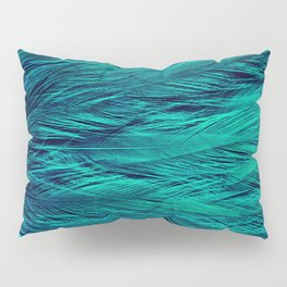 Teal Feathers Pillow Sham