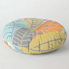 Bright Tropical Leaf Retro Mid Century Modern Floor Pillow