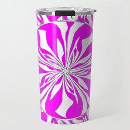Zebra Kaleidoscope Hot Pink and White Travel Mug