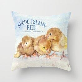 Rhode Island Red Chicks Throw Pillow