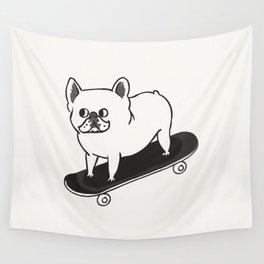 Skateboarding French Bulldog Wall Tapestry