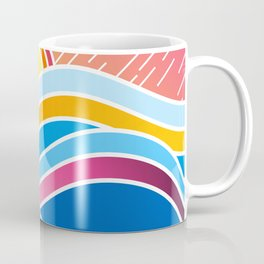Dynamic Abstraction of Waves and Mountains Over a Rainy Summer Sunrise Coffee Mug