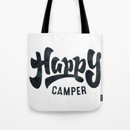 f7c59a4c01ad HAPPY CAMPER Black and White Retro Tote Bag