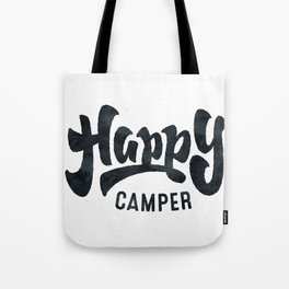 HAPPY CAMPER Black and White Retro Tote Bag