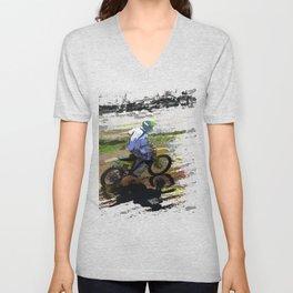 On His Tail - Motocross Sports Art Unisex V-Neck