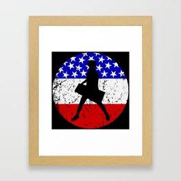 American Flag Keytar Framed Art Print