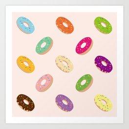 Donuts Pattern | Pastel Pink Art Print