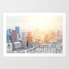 city skyline under sunrise in Osaka, Japan Art Print