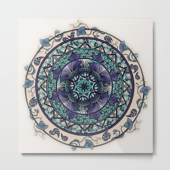 Morning Mist Mandala Metal Print