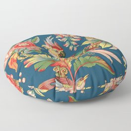 Antique French Chinoiserie in Blue Floor Pillow