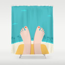 Feet on Beach Shower Curtain
