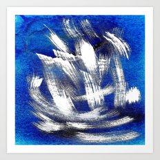 Cosmic blue white Art Print