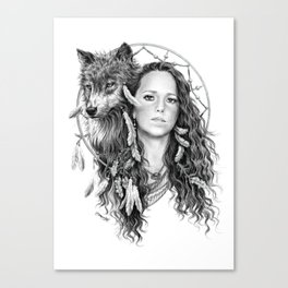 Heather / Black & white Canvas Print