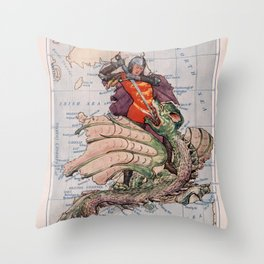 Vintage England Map & St George Slaying a Dragon (1912) Throw Pillow