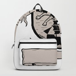 Wolf Running Over Pirate Ship Crest Scratchboard Backpack