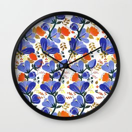 folk spring flowers no2 Wall Clock