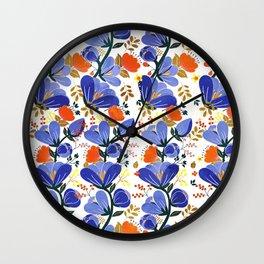 folk spring flowers no2 Wall Clock