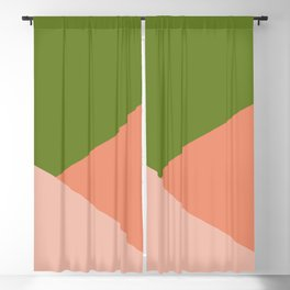 Peachy Green Minimalist Angled Color Block Blackout Curtain
