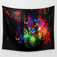 decal Wall Tapestries featuring butterfly forest by haroulita