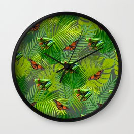 Frogs and Monarchs Wall Clock