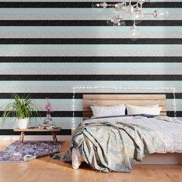 Modern black white teal stripes watercolor polka dots Wallpaper