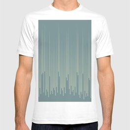Blue-Green Frequency Line Art Pattern V2 2021 Color of the Year Aegean Teal and Salisbury Green T-shirt