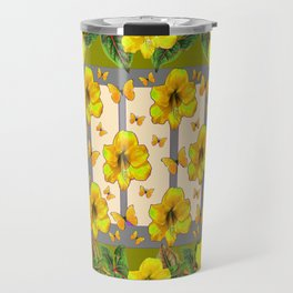 GREEN YELLOW AMARYLLIS FLOWERS BUTTERFLY FLORAL Travel Mug
