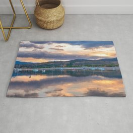 Calm Waters // Lake and Boats at Sunset Beautiful Landscape Photograph Scenic Mountain View Rug