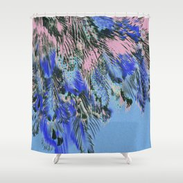 feather texture in blue and light pink Shower Curtain