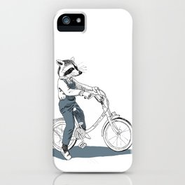 Raccoon bike iPhone Case