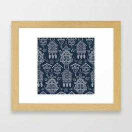 Cuckoo Clocks on Blue Framed Art Print