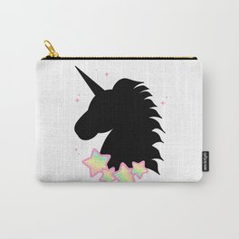 cute fantasy black unicorn silhouette with rainbow stars Carry-All Pouch
