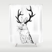 jackalope Shower Curtains featuring Jackalope by JChauvette
