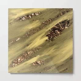 Yellow Grey Paint Brushstrokes Gold Foil Abstract Texture Metal Print