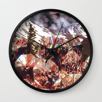 crystals Wall Clocks featuring Crystals by Collage Heaven
