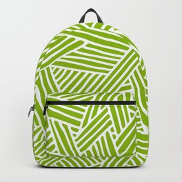 Abstract apple green & white Lines and Triangles Pattern- Mix and Match with Simplicity of Life Backpack