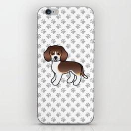 Cute Chocolate Tricolor Beagle Dog Cartoon Illustration iPhone Skin