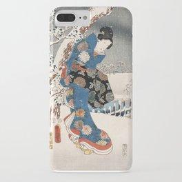 Japanese Vintage Kunisada Hiroshige Snowy Landscape iPhone Case