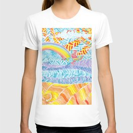 Sea beach with a rainbow and shells - abstract doodle colorful landscape T-shirt