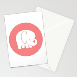 Mod Baby Elephant Coral Stationery Cards