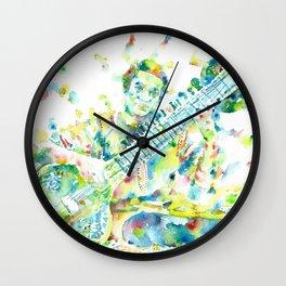 RAVI SHANKAR - watercolor portrait Wall Clock