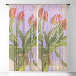 Tulips in Jar Sheer Curtain
