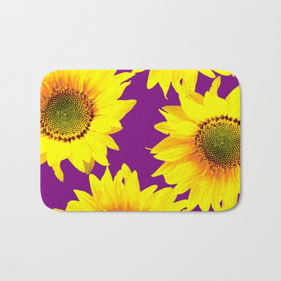 Sunflowers on a purple background - summer mood - #Society6 #buyart Bath Mat