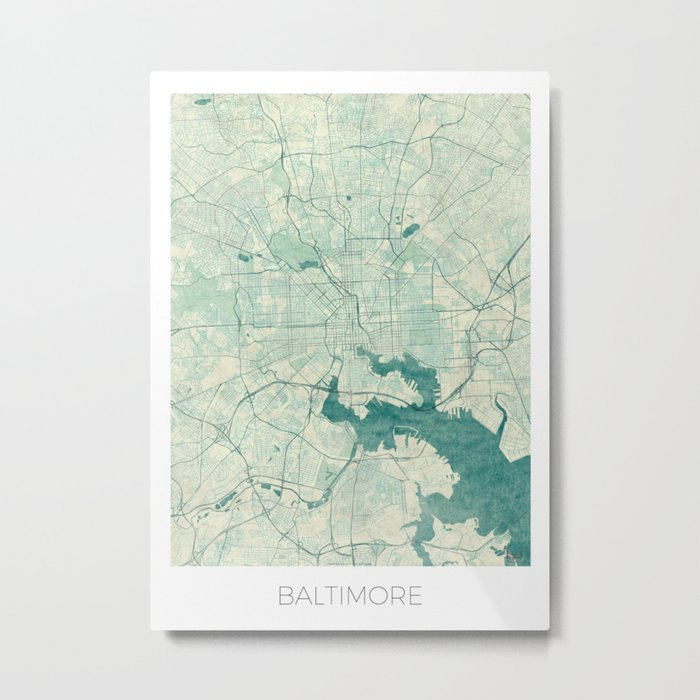 Baltimore Map Blue Vintage Metal Print