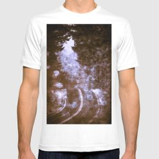 Forest Wanderlust - Adventure Road Trip in Purple Fog Firefly Mens Fitted Tee White MEDIUM