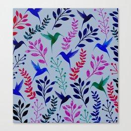 Watercolor Floral & Birds Canvas Print